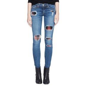 Rag & Bone Skinny Sloane Plaid Repair Jeans